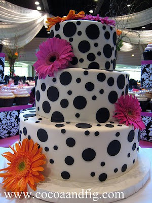 HOT PINK ORANGE WEDDING CAKE