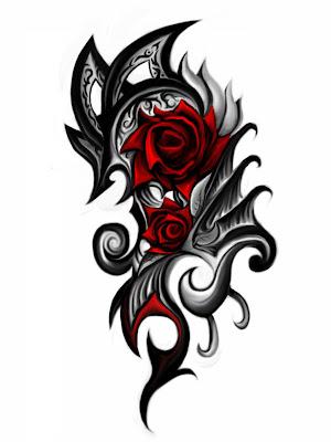 Tribal Rose Tattoo Designs for Women