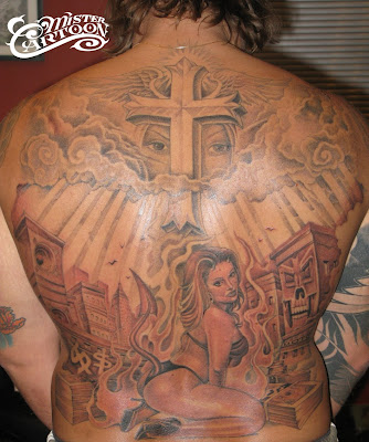 HERE IS SOME MORE PROGRESS ON RAYS BACK PIECE. TATTOOING IS ALOT DIFFERENT