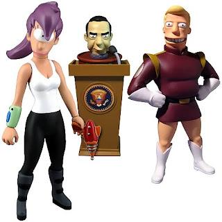 Branigan, Lila y el presidente Nixon, juguetes de Futurama