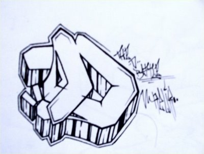 Free Simple Graffiti Design Alphabet D