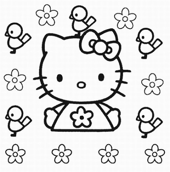 Hello Kitty Printable Coloring Pages Flowers