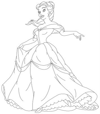 coloring pages disney characters. Disney Princess Belle - many