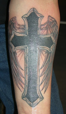 angel winged cross tattoos. Cool Cross tattoos with Wings for Man
