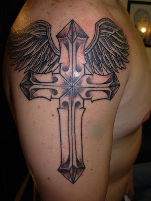 Cross Tattoo with wings design on Male Chest