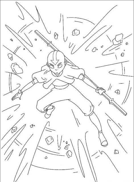 Free Coloring Pages Avatar Aang Cartoon Kids