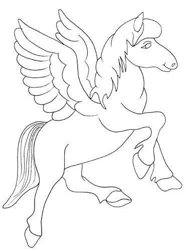 Coloring pages for kids pegasus animal cartoon for Coloring pages of pegasus