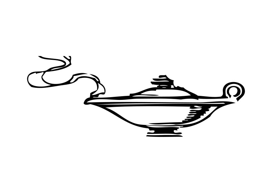 Free coloring pages of genie lamp for Genie lamp coloring page