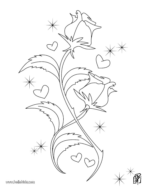 Kids Coloring Pages : Valentine Day Roses Printable title=