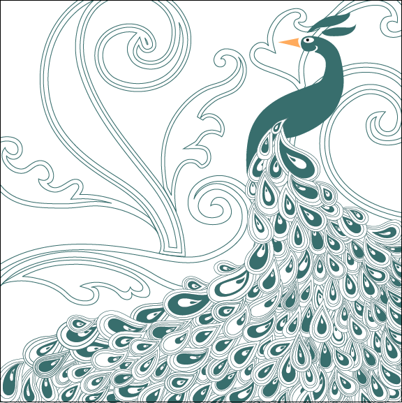 Peacock pattern Peacock Pattern Outline