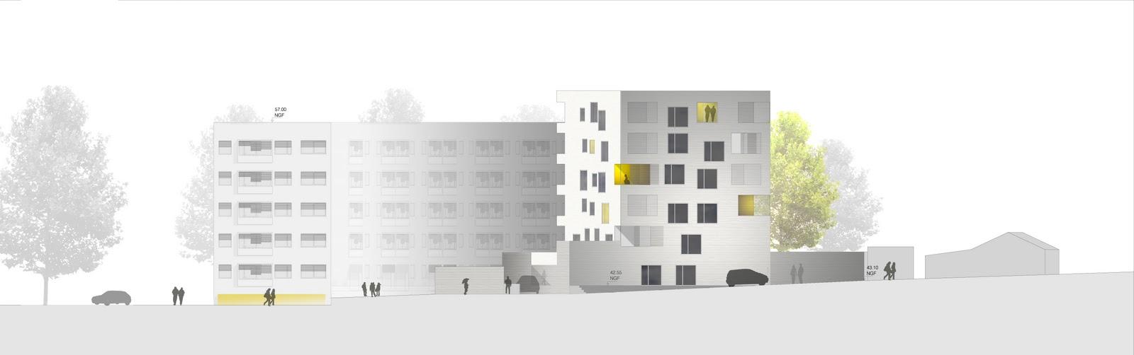 Plan Elevation Profil : Logements sociaux nantes bohuon bertic architectes