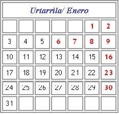 Egutegia / Calendario