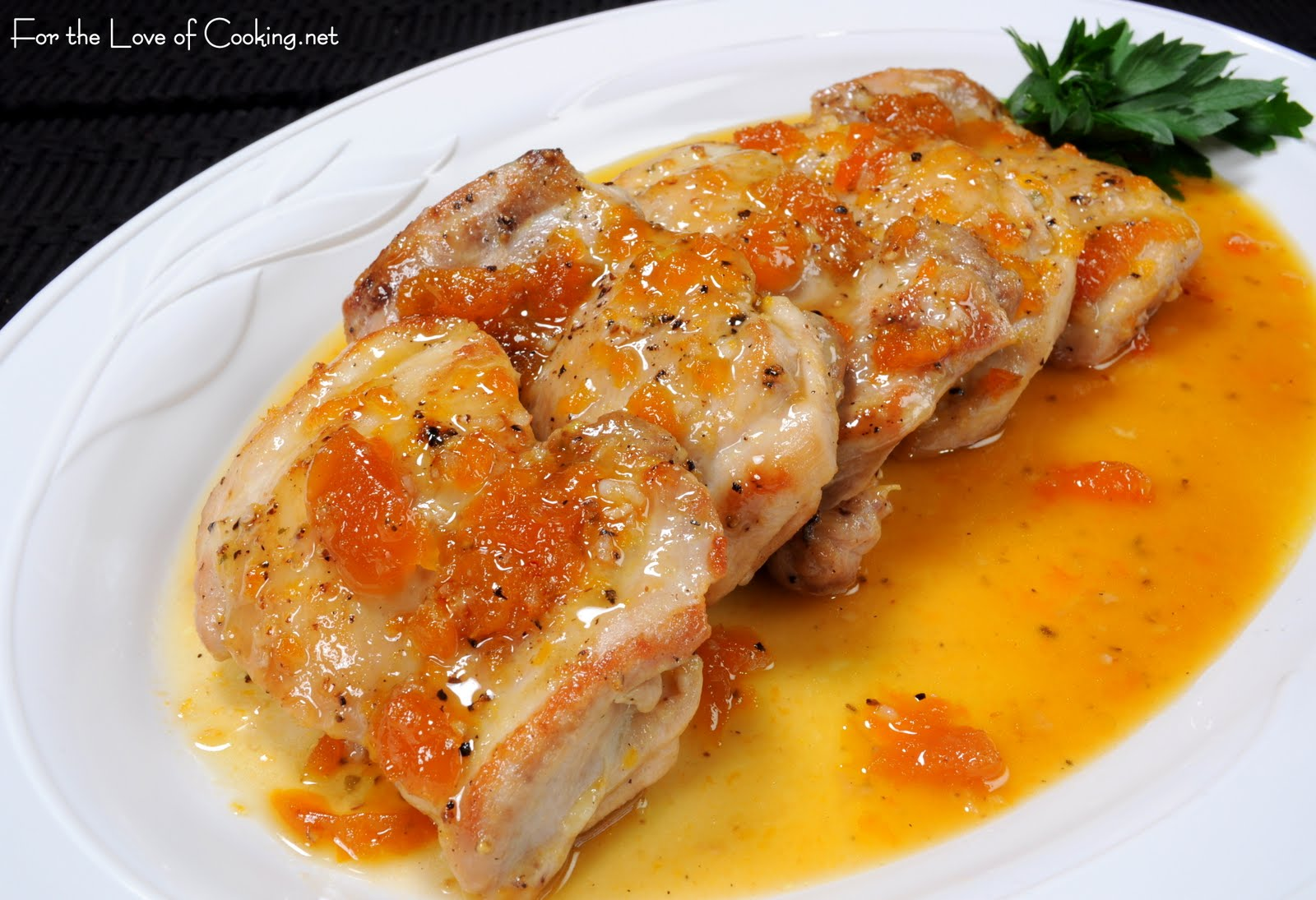 Apricot-Glazed Chicken Thighs | For the Love of Cooking