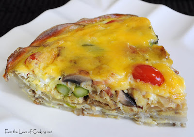 Mushroom, Asparagus, Bacon, and Tomato Quiche with a Potato Crust ...