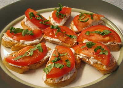 Tomato and Fresh Basil Crostini with Feta and Roasted Garlic Cheese Spread