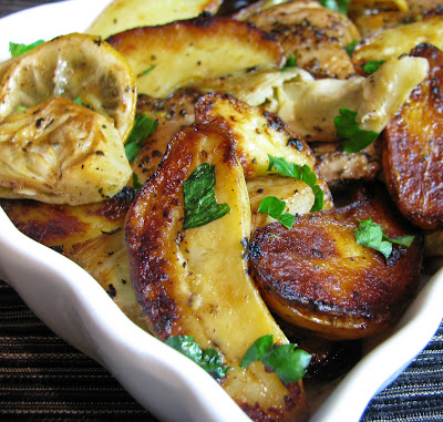 Roast Chicken Thighs with Potatoes, Artichokes and Lemon