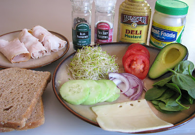 Turkey, Swiss and Vegetable Sandwich