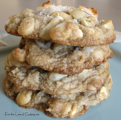 White Chocolate, Macadamia Nut and Coconut Cookies