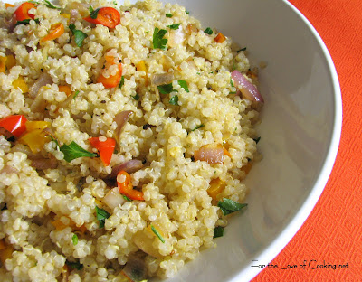 Quinoa with Caramelzied Red Onion, Bell Peppers and Garlic