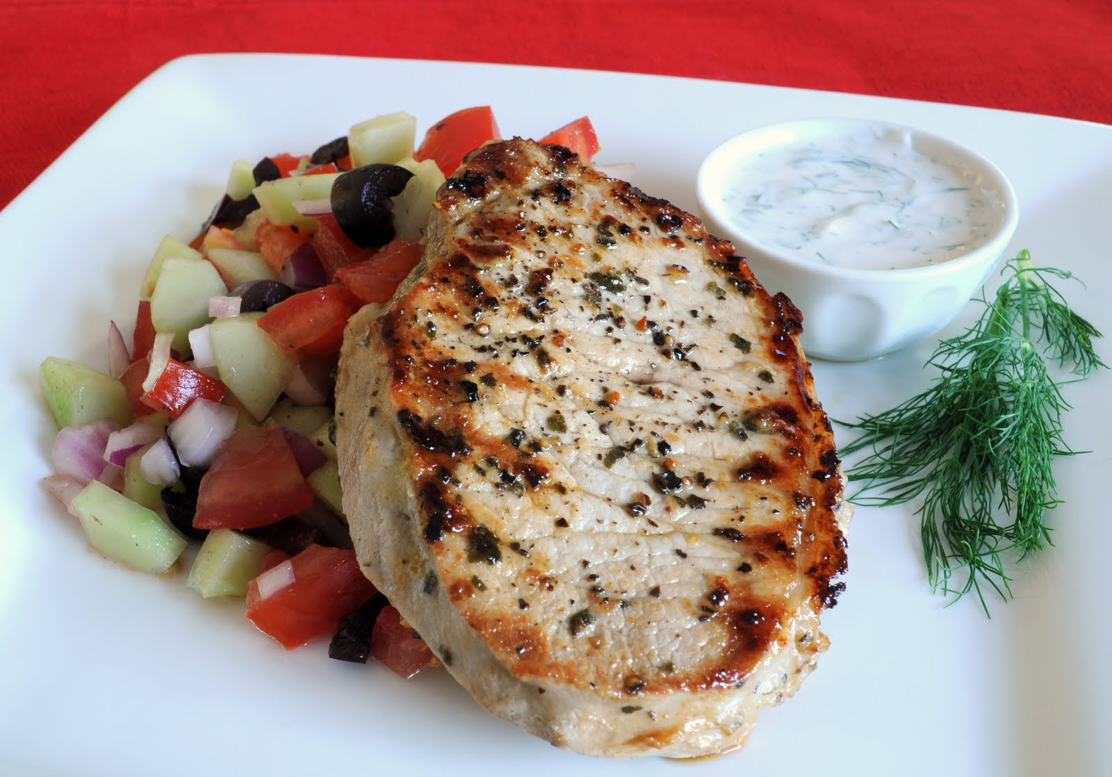 Grilled Pork Chops With Cucumber-Dill Salad Recipes — Dishmaps