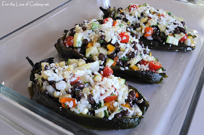Black Bean and Vegetable Stuffed Poblano Peppers