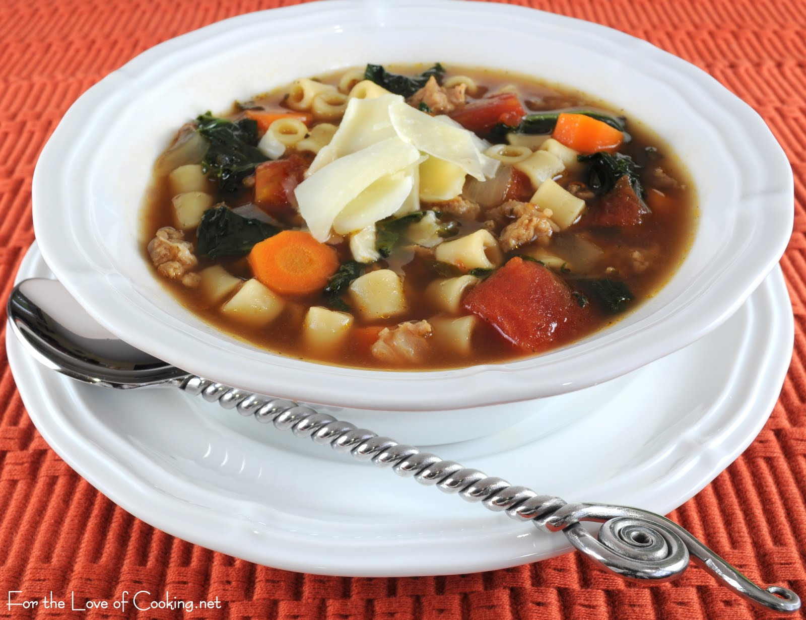 Turkey Italian Sausage, Kale, and Pasta Soup | For the Love of Cooking