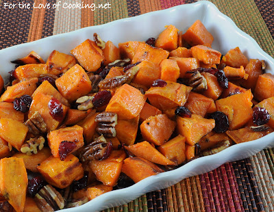 Roasted Yams with Maple, Dried Cranberries and Pecans