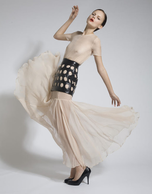 Nude Chiffon Dress with Leather Skirt