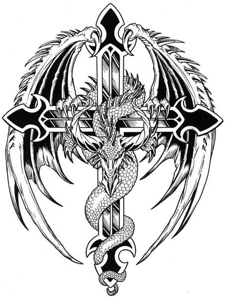 dragon cross tattoo flash