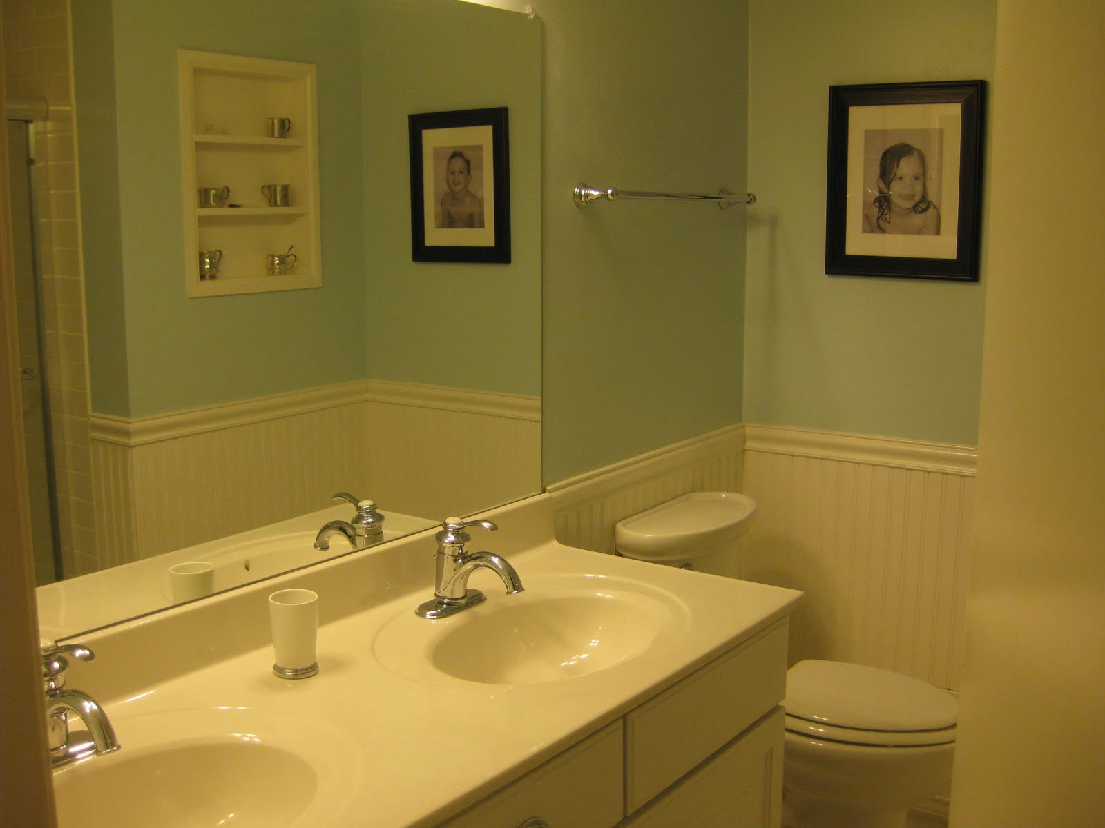 MirrorMate Frames: An Inch of Gray Blog Bathroom Makeover