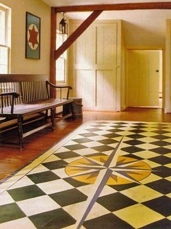 Painted Floor Cloth with Mariners Compass