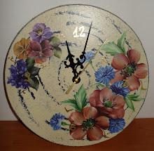 orologio 1 decorato con tecnica decoupage