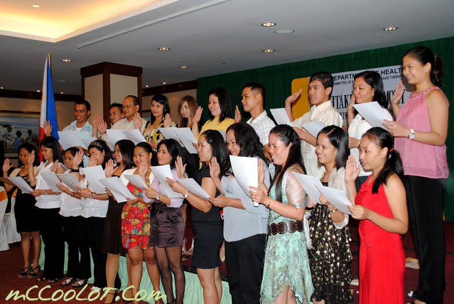New Licensed Massage Therapist take Oath after passing Licensure Exam