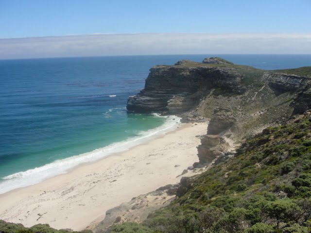 A view of the Cape of Good Hope and its beach