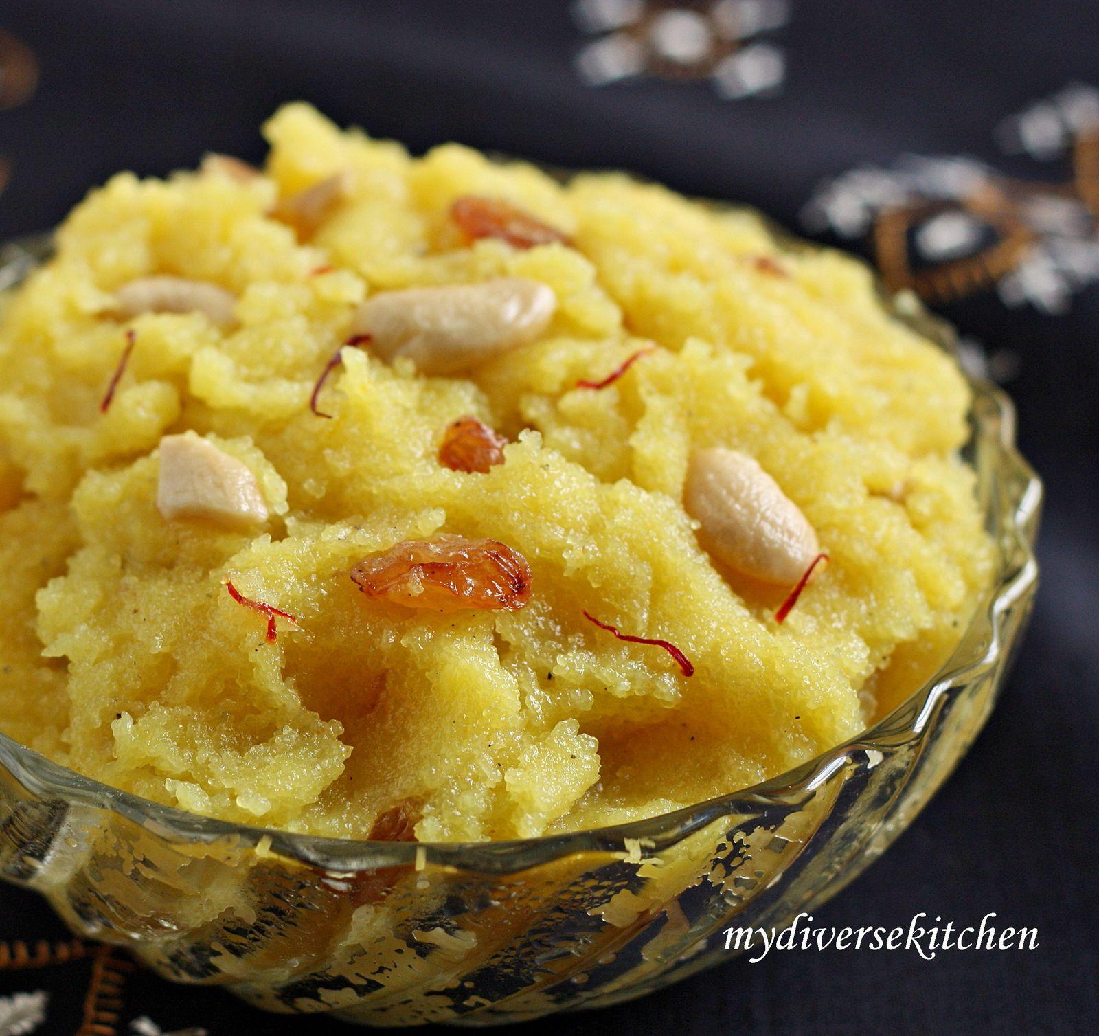 how to make rava kesari with milk in tamil