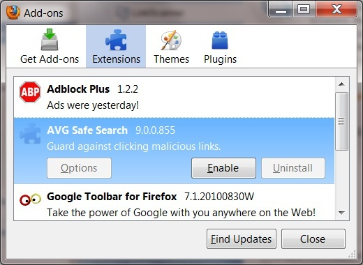 how to get rid of avg secure search google chrome