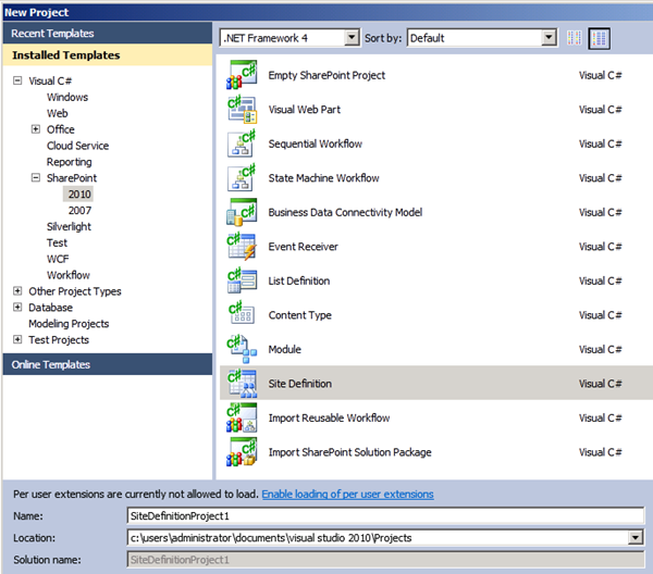 sharepoint 2010 project site template
