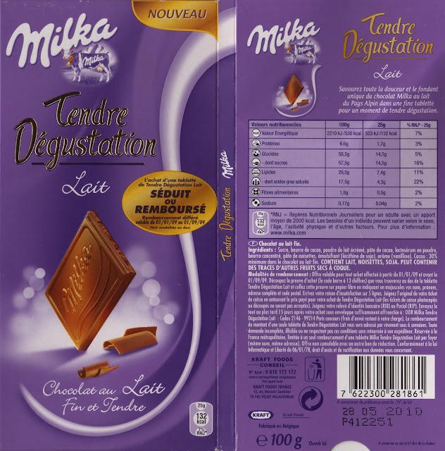 tablette de chocolat lait dégustation milka tendre dégustation