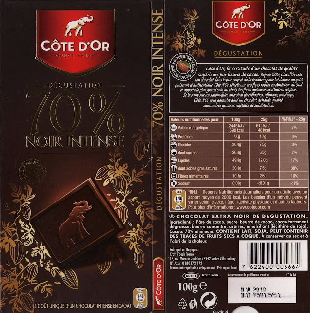 tablette de chocolat noir dégustation côte d'or noir intense 70