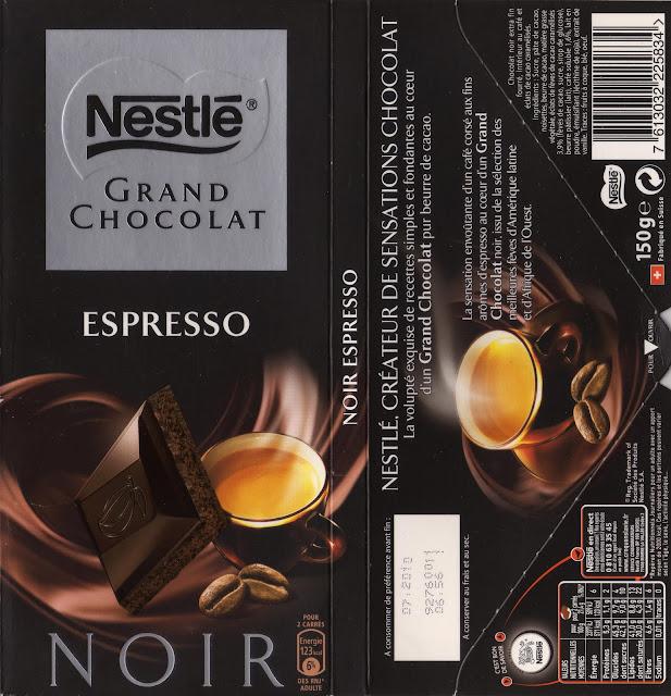 tablette de chocolat noir fourré nestlé grand chocolat espresso