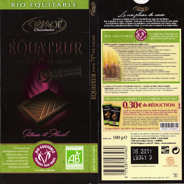tablette de chocolat noir dégustation cémoi equateur noir 72