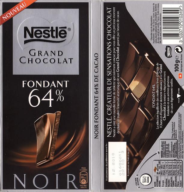 tablette de chocolat noir dégustation nestlé grand chocolat fondant 64