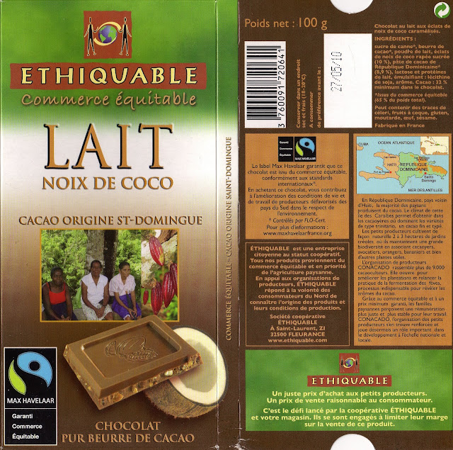 tablette de chocolat lait gourmand ethiquable st domingue lait noix de coco