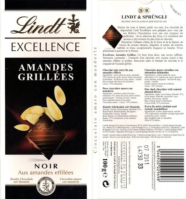 tablette de chocolat noir gourmand lindt excellence amandes grillées