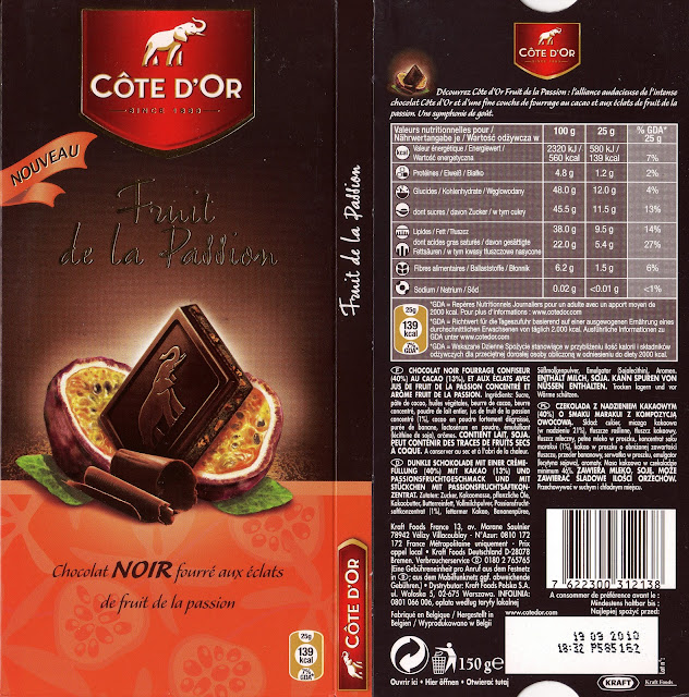 tablette de chocolat noir fourré côte d'or noir fruits passion