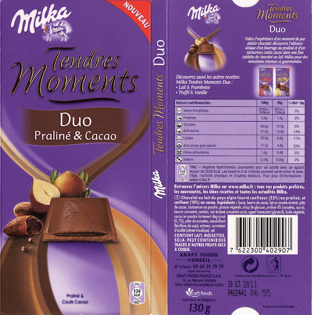 tablette de chocolat lait fourré milka tendres moments duo praliné & cacao