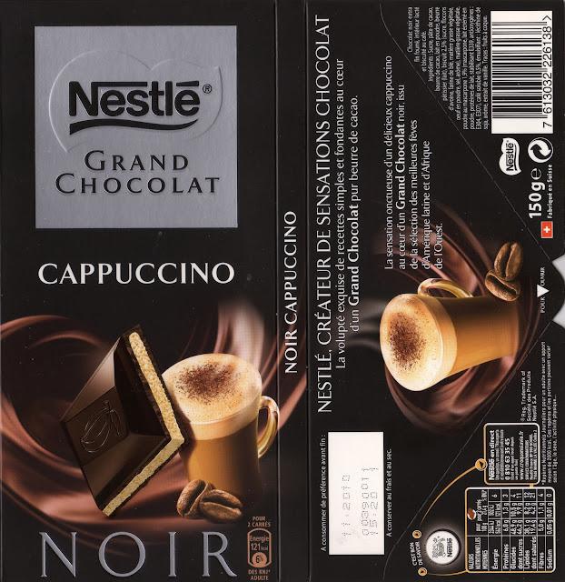 tablette de chocolat noir fourré nestlé grand chocolat cappuccino