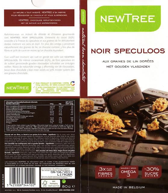 tablette de chocolat noir gourmand newtree noir speculoos aux graines de lin dorées