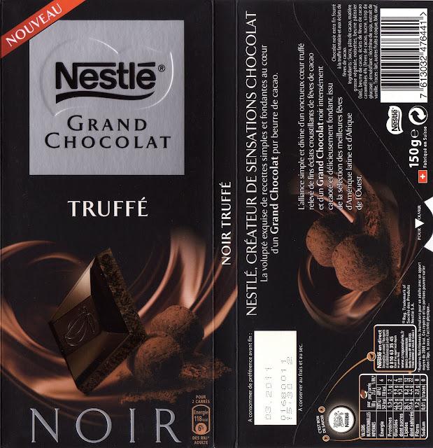 tablette de chocolat noir fourré nestlé grand chocolat truffé