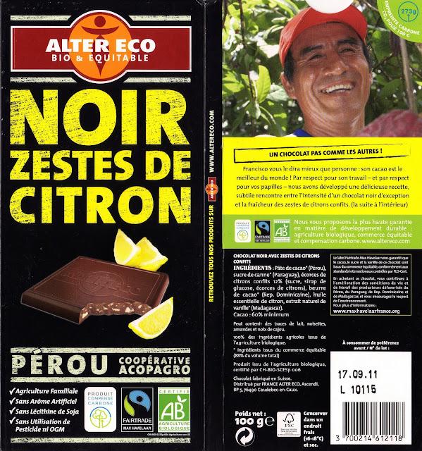 tablette de chocolat noir gourmand alter eco pérou noir zestes de citron